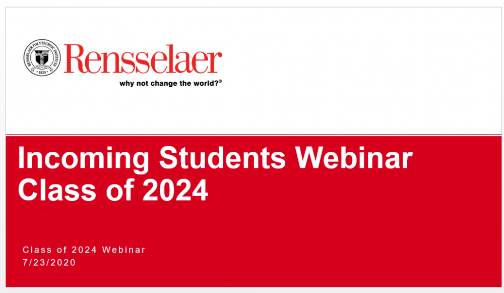 Title Slide of Incoming Students Webinar Powerpoint Presentation