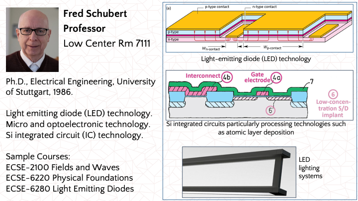 Fred Schubert: Microelectronics and Optoelectronics