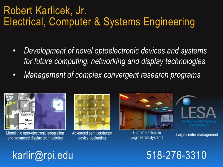 Robert Karlicek: Optoelectronic Devices and Systems