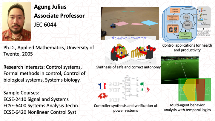 Agung Julius: Control, Robotics, Systems Biology